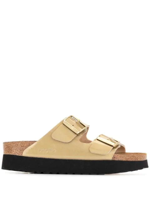 Birkenstock Arizona Platform Double-strap Sandals In Gold