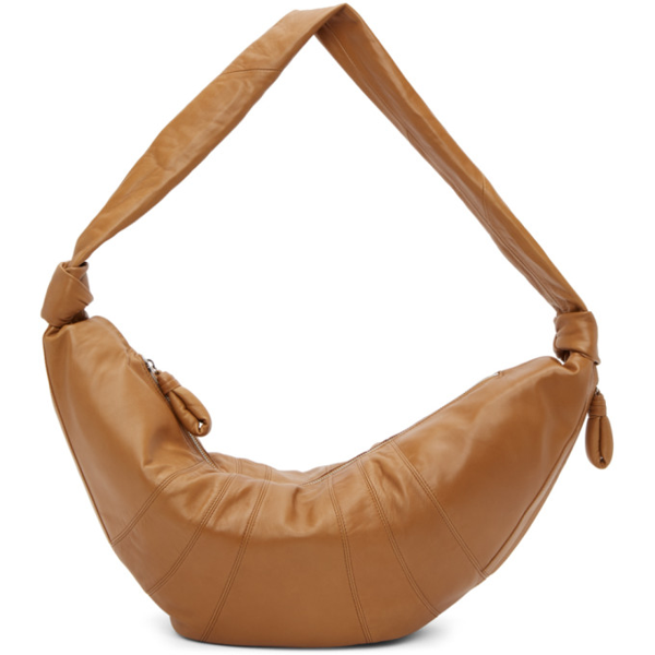 Lemaire Brown Large Croissant Bag In 420 Tobacco