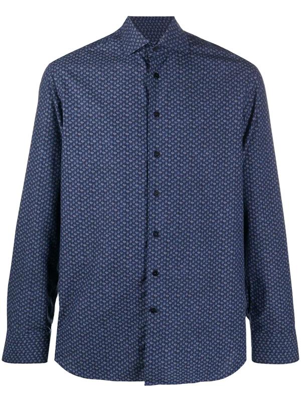 Etro Floral Paisley Cotton Shirt In Blue