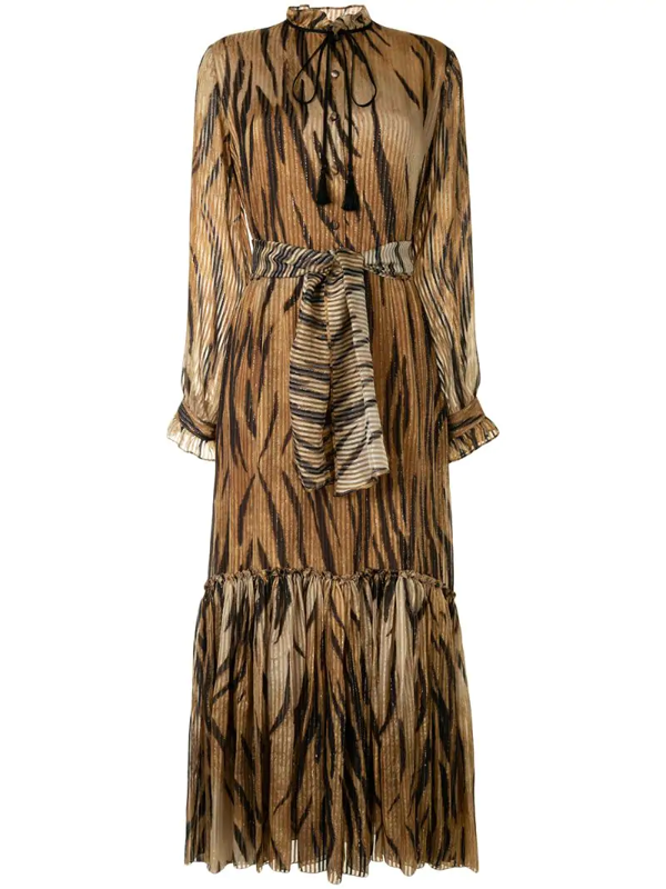 Etro Tiger-pattern Belted Midi Dress In Metallic