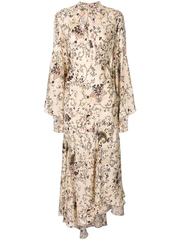 Etro Paisley-print Asymmetric Midi Dress In Neutrals