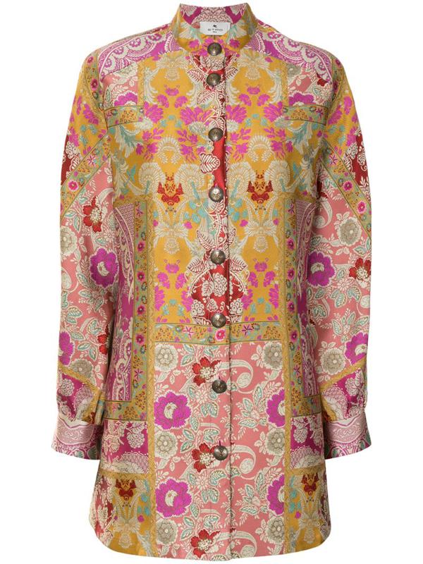 Etro Patchwork-print Shirt Jacket In Multicolour