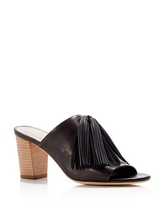 Loeffler Randall Cleo Tassel Block-heel Mule Sandal In Black