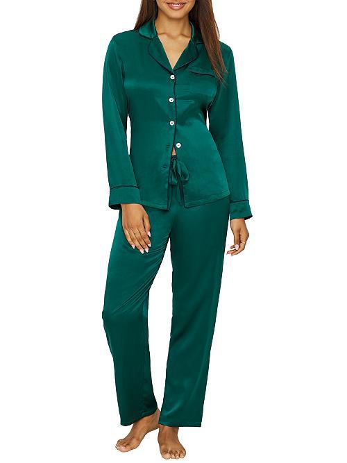 Ginia Women's Fine Finishes Two-piece Silk Pajama Set In Dark Green