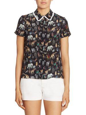 b280a6565cec0 Alice And Olivia  Willa  Ruffle Collar Animal Print Silk Top In Stacey  Summer Safari