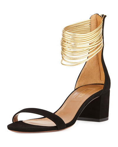 Aquazzura Spin Me Around Suede Ankle-Strap Sandals In Black