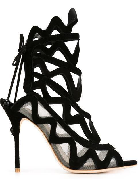Sophia Webster Mila Suede Cutout Peep-toe Sandals, Black