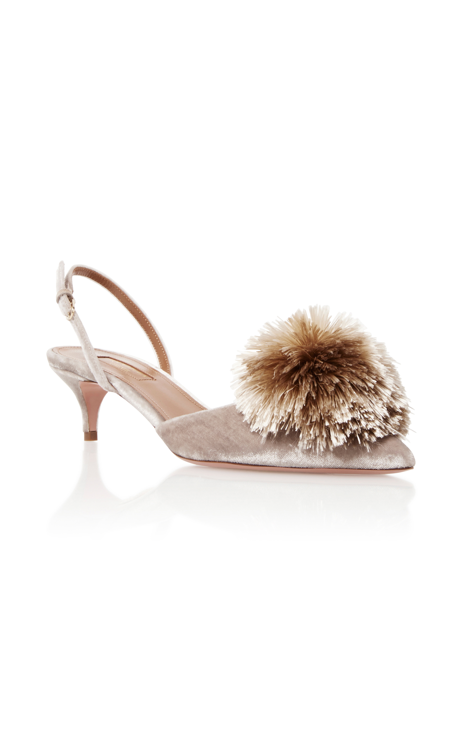7f595ae3c8c Aquazzura Powder Puff Pompom Pump In Light Gray