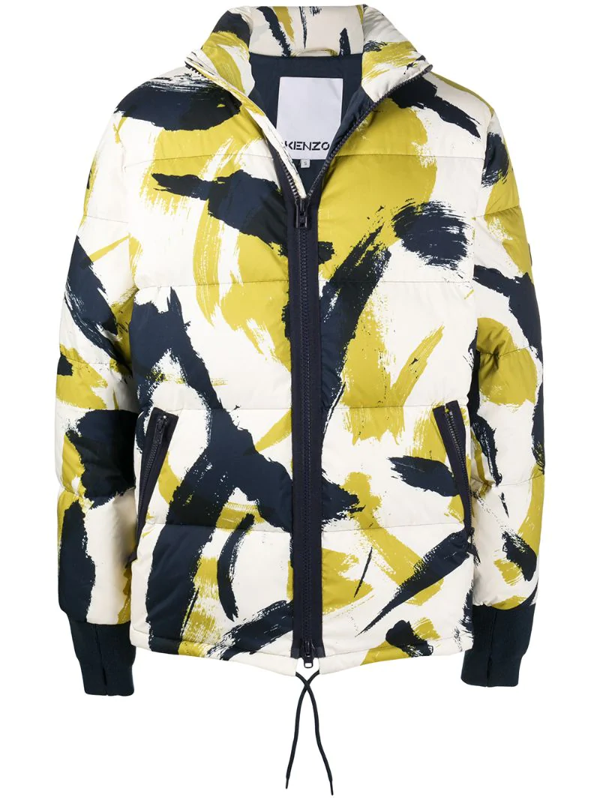 Kenzo Paint Spot Print Quilted Down Jacket In Green