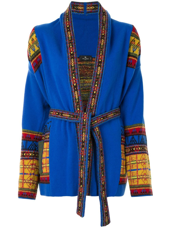 Etro Pattern-trimmed Cardigan In Blue