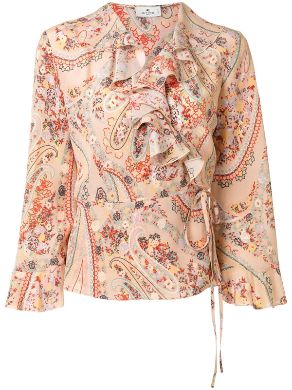 Etro Paisley-print Ruffle Trim Blouse In Pink
