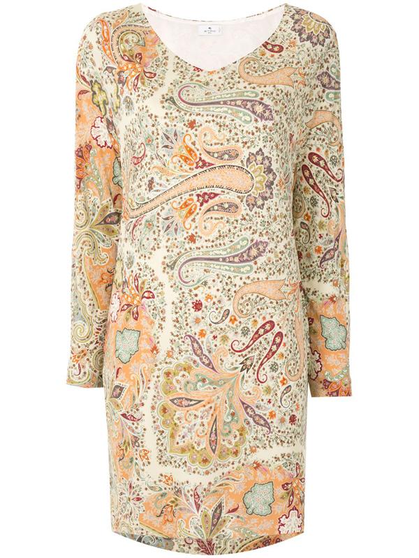 Etro Paisley-print Shift Dress In Multicolour