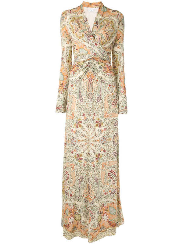 Etro Paisley-print Ruched Dress In Multicolour