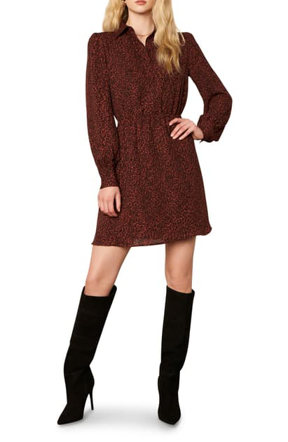 Cupcakes And Cashmere Sheryl Leopard Print Long Sleeve Minidress In Autumn Mauve