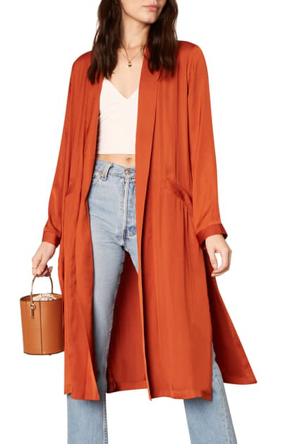 Cupcakes And Cashmere Marina Longline Satin Duster Jacket In Paprika