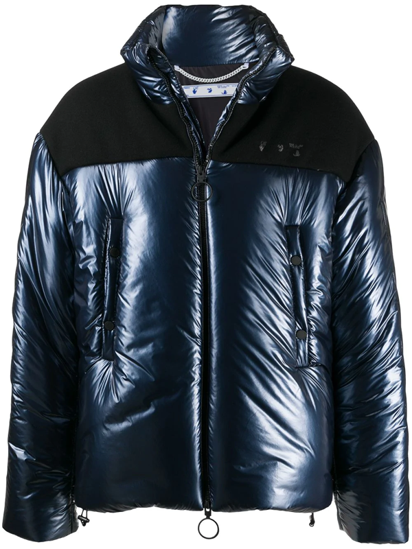 Off-white Arrow Quilted Puffer Jacket In 4600 Navy