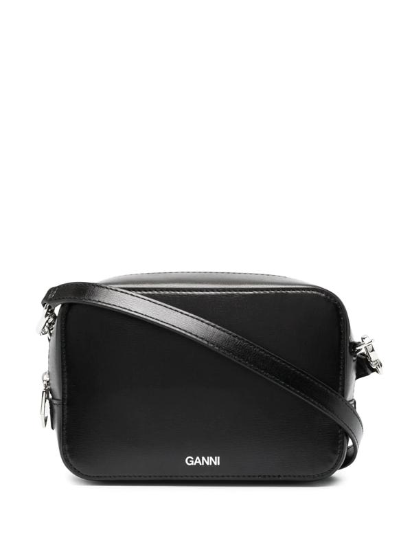 Ganni Logo-print Shoulder Bag In Black