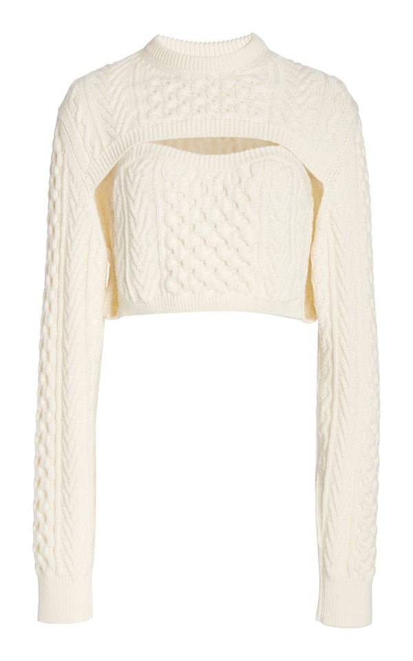 Rosie Assoulin Thousand In One Ways Convertible Cropped Cable-knit Wool And Cotton-blend Sweater In Ivory