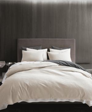 Vera Wang Waffle Pique Queen Duvet Cover Set Bedding In Light Beige