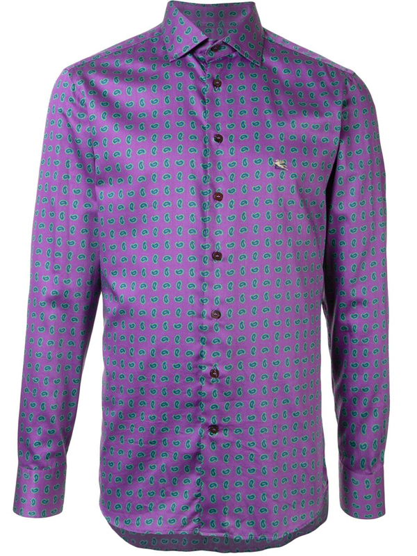 Etro Paisley-print Cotton Shirt In Purple