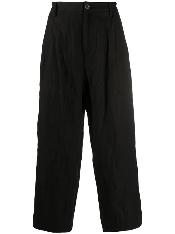 Ziggy Chen Wide Leg Cropped Trousers In Black