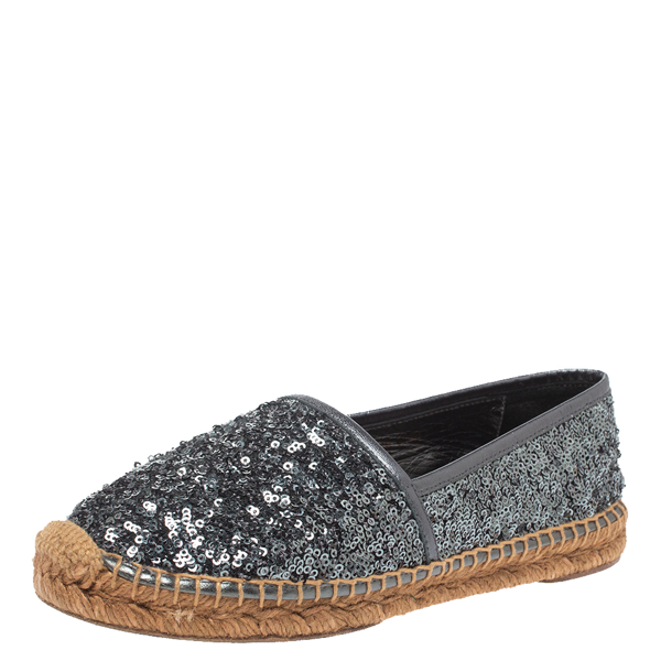 Pre-owned Dolce & Gabbana Metallic Grey Sequin Espadrille Flats Size 36