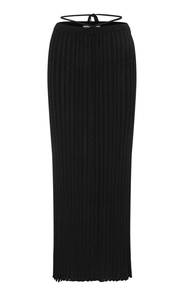 Christopher Esber Drawstring-detailed Ribbed-knit Maxi Skirt In Black