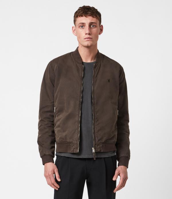 Allsaints Lows Cotton Bomber Jacket In Dark Khaki