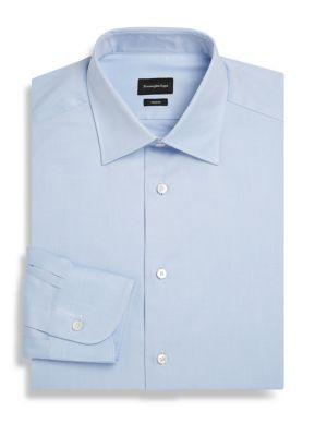 Ermenegildo Zegna Striped Cotton Classic-Fit Dress Shirt In Blue