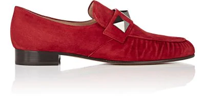 53b6e83fa20 Valentino 20Mm Macro Studs Suede Loafers In Red. VALENTINO