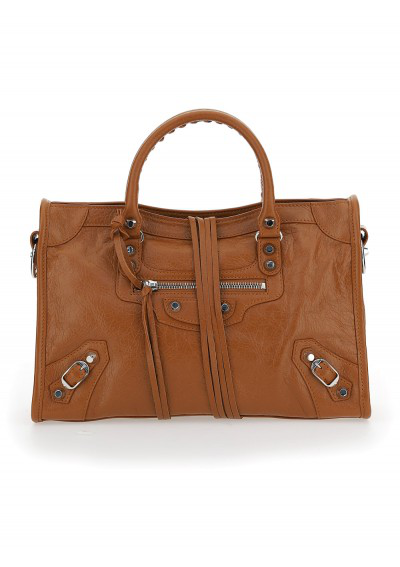 Balenciaga Classic City Small Handbag In Brown/beige