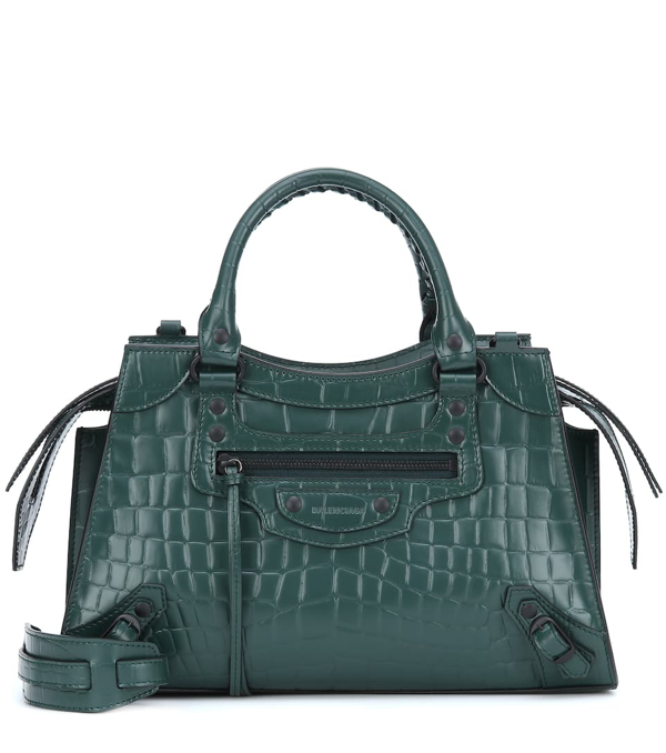 Balenciaga Classic City Small Croc-effect Leather Tote In Green