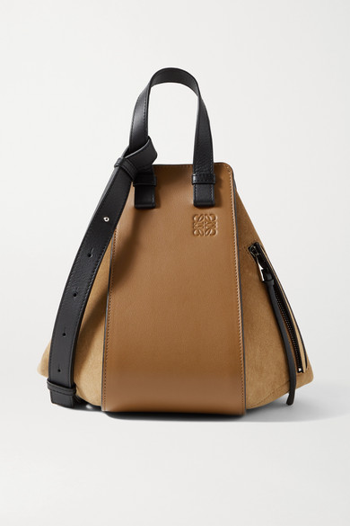 Loewe Hammock Small Paneled Leather And Suede Tote In Tan