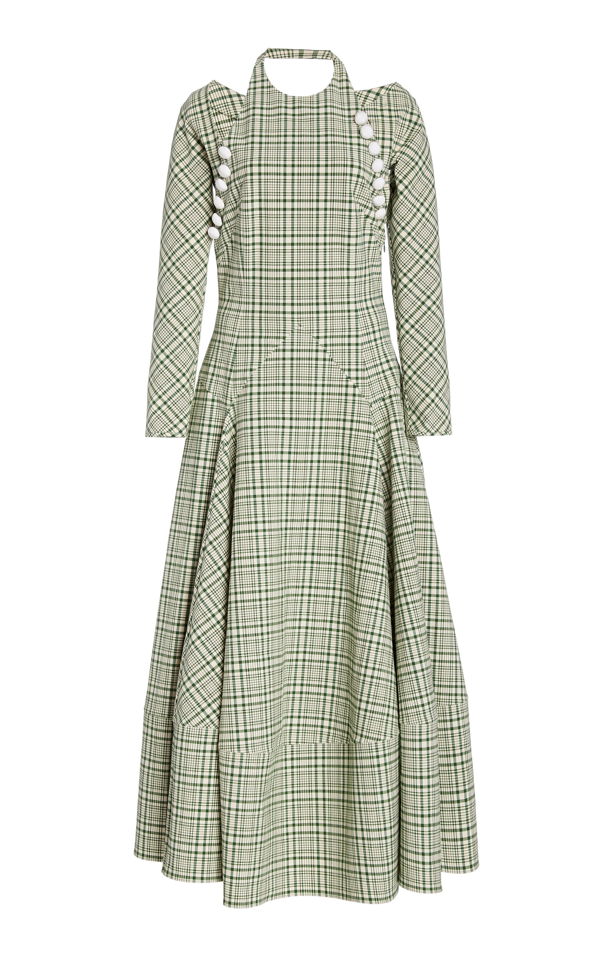 Rosie Assoulin Hold My Bolero Convertible Cutout Checked Cotton-blend Maxi Dress In Green