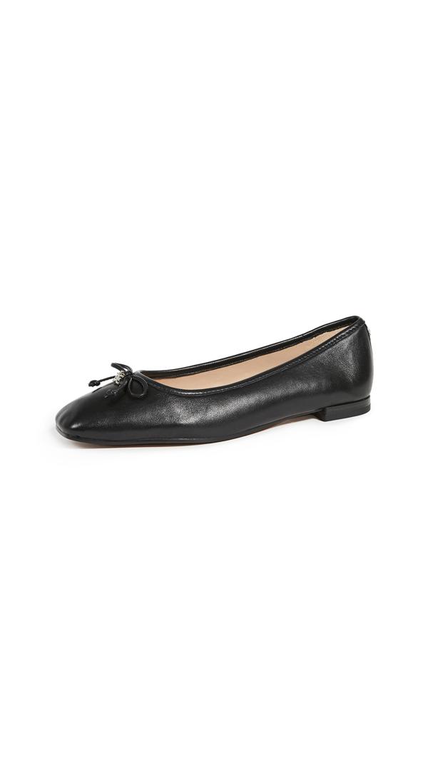 Sam Edelman Jillie Square-toe Bow Flats Women's Shoes In Black