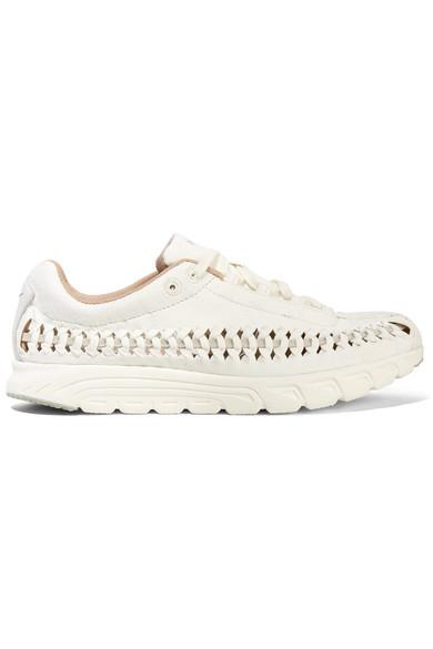 7290a29d59cebd Nike Mayfly Woven Leather-Trimmed Faux Suede Sneakers In White ...