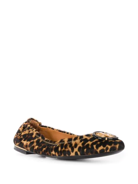 Tory Burch Logo Ballet Flats In Animalier Calf Hair In Barbados Leopard