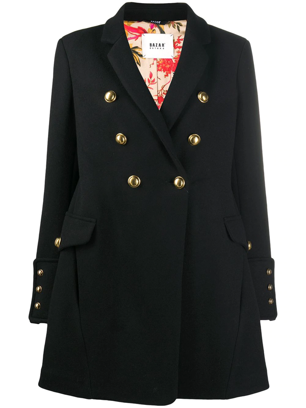 Bazar Deluxe Double-breasted Military Coat In Black