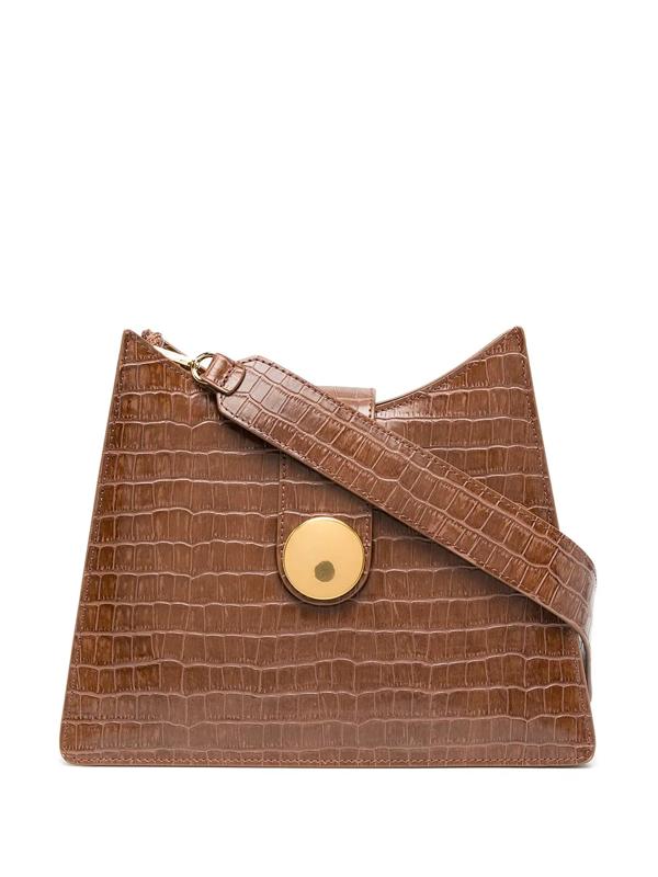 Elleme Crocodile Effect Tote Bag In Brown