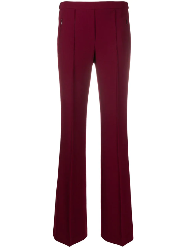 Theory Demitria Pintuck Flare Pull-on Wool Blend Pants In Red