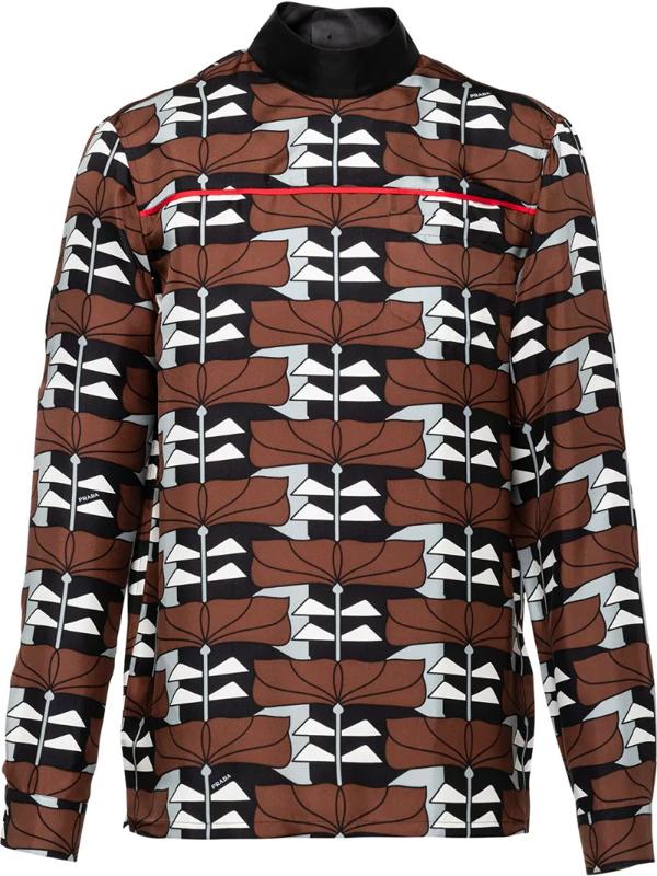 Prada Geometric Pattern Shirt In Brown