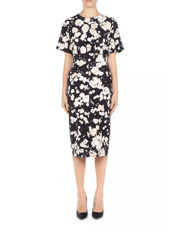 Boutique Moschino Cady Midi Dress Bleached Flowers In Black