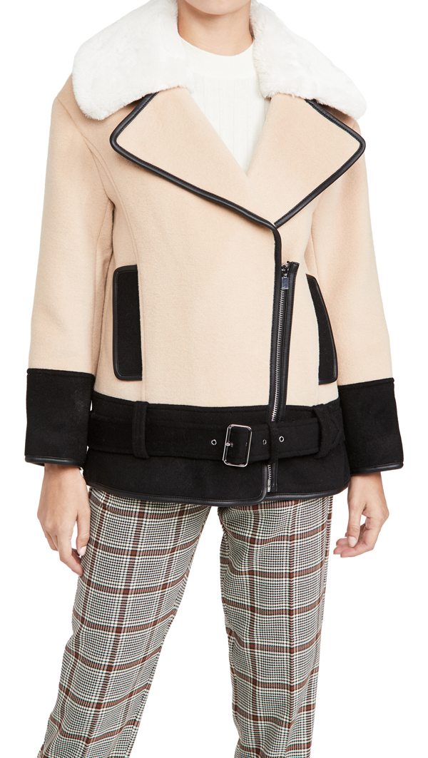 Club Monaco Rismah Wool Blend Faux Fur Collar Coat In Iced Latte