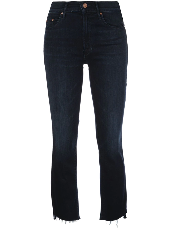 Mother 'the Insider' Crop Step Fray Jeans In Blue