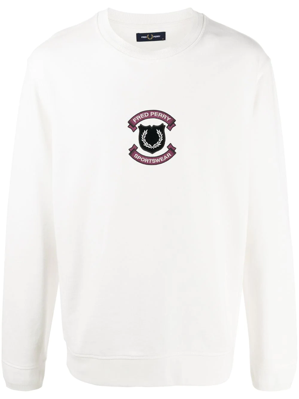 Fred Perry Logo Crest Sweatshirt In White