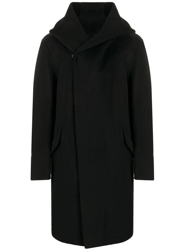 Attachment Double-breasted Hooded Coat In Black