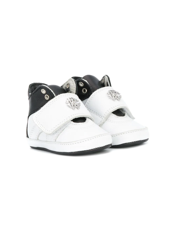 Roberto Cavalli Junior Babies' Two-tone Crib Shoes In White