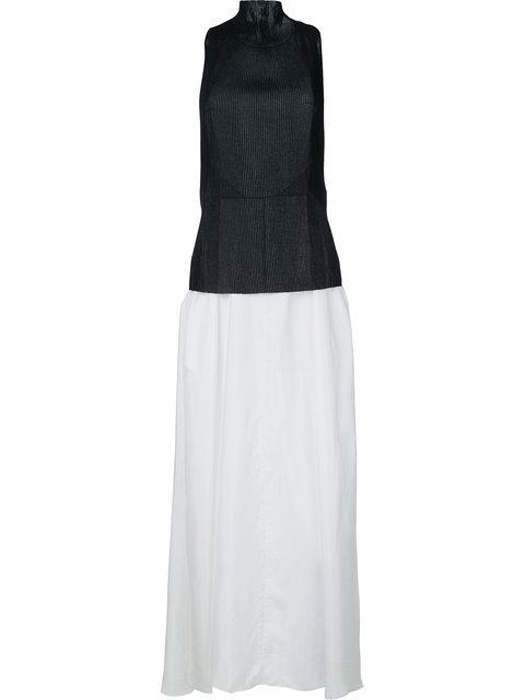 Yang Li Pelated Front Long Dress - White