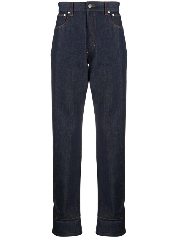 Ami Alexandre Mattiussi Contrasting Hem Straight-leg Jeans In Blue