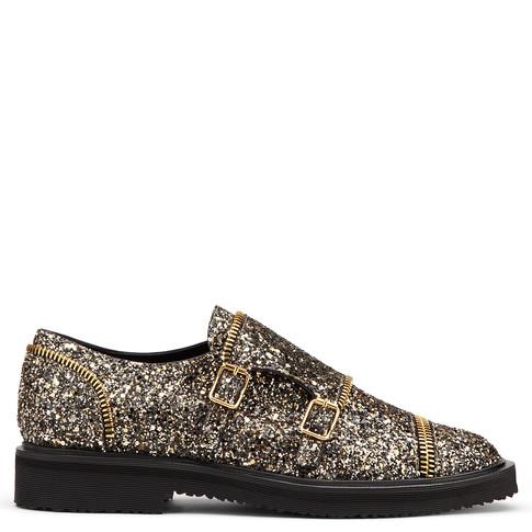 Giuseppe Zanotti - Leather Monk-strap Shoe With Glitter Johnny